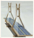 scale model of a cable-suspension bridge