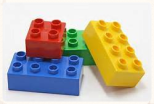 scale model of different colored LEGO bricks