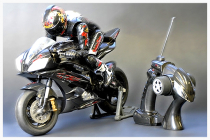 Image of a remote-controlled scale model motorcycle