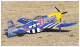 Image of a remote-controlled scale model propeller-powered airplane