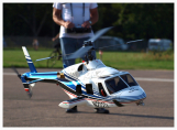 Image of a scale model helicopter in flight controlled remotely by a smartphone